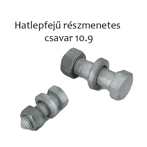 Hatlapfejű, részmenetes csavar 10.9, natur M 6x45